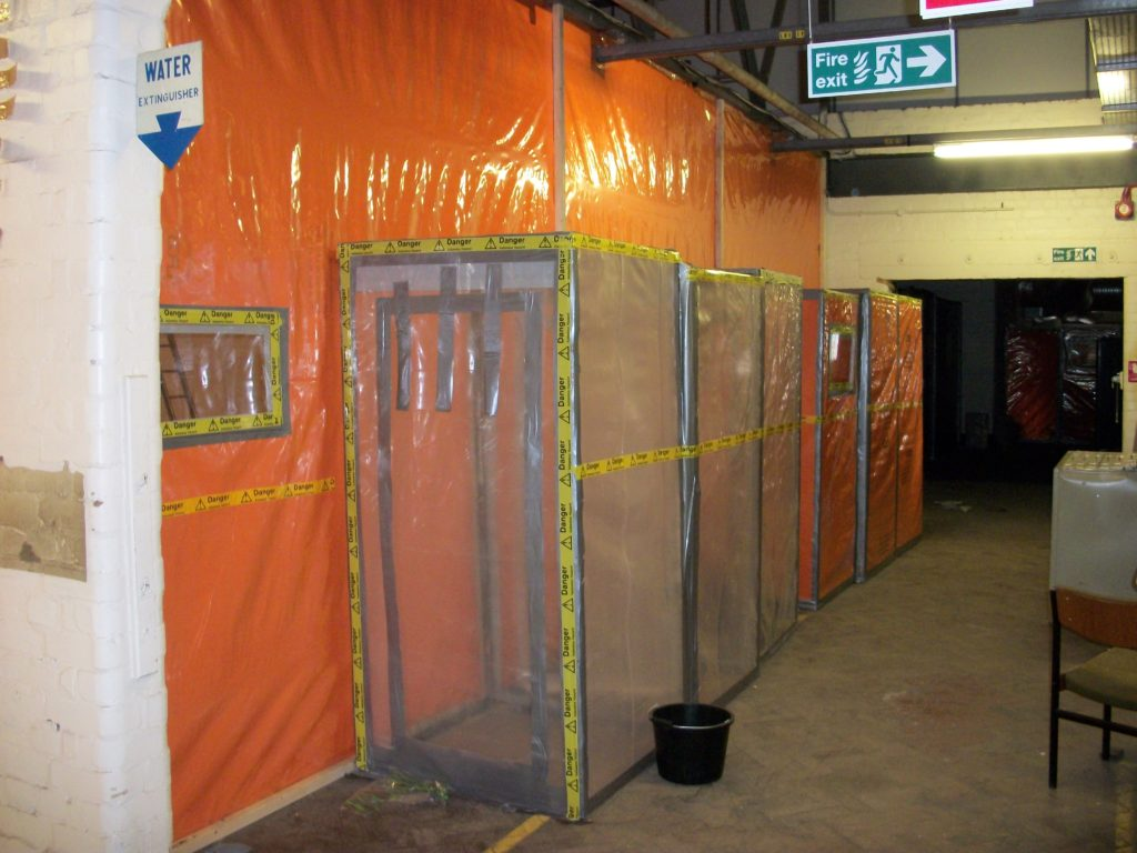 Indoor space with plastic sheet divider walls