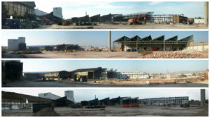 Four panoramics of buildings at demolition site