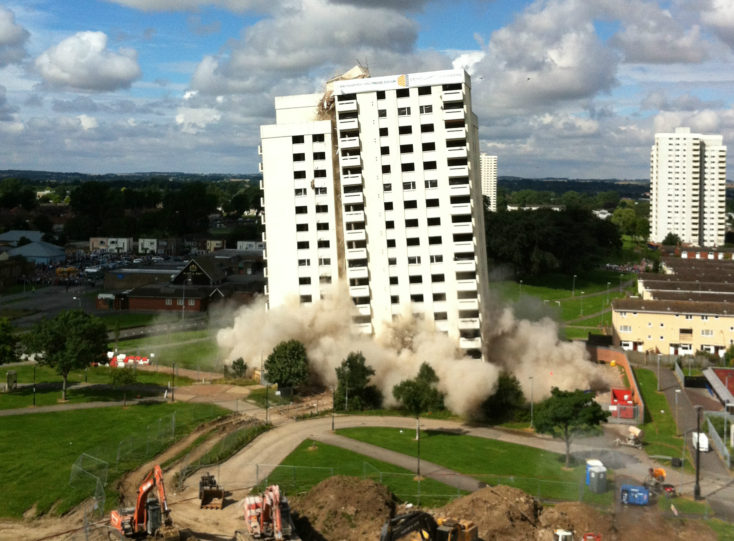 Building falling after being destroyed