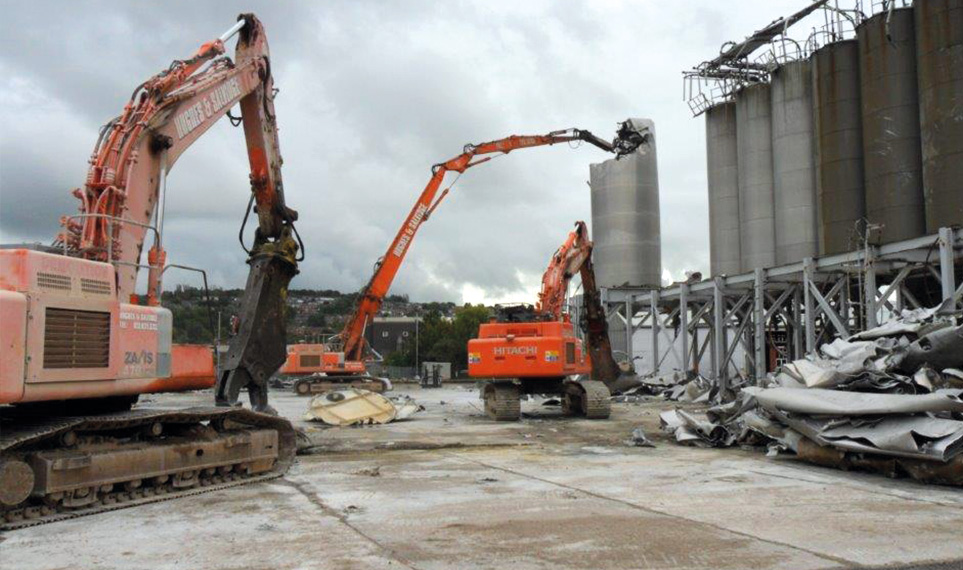 A building demolition operating under controlled conditions