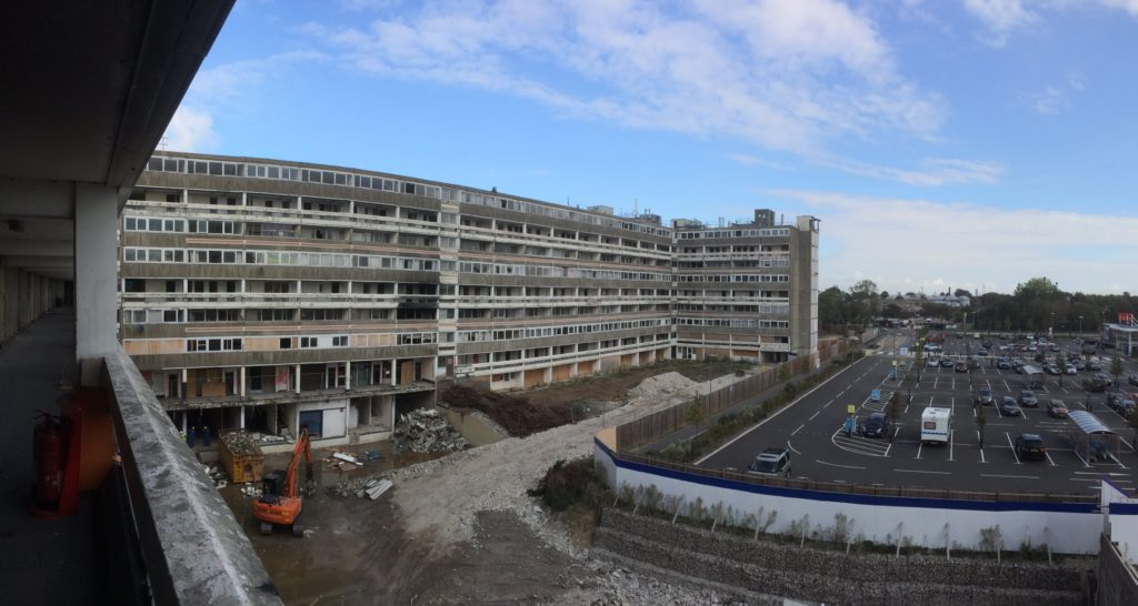 Housing estate part way through demolition