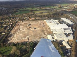 Photo of demolition of Ford Motor Company plant from plane