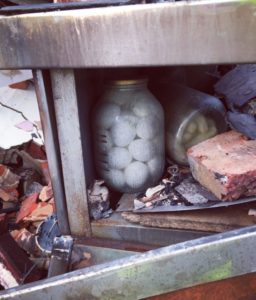 Jar of eggs in building being destroyed