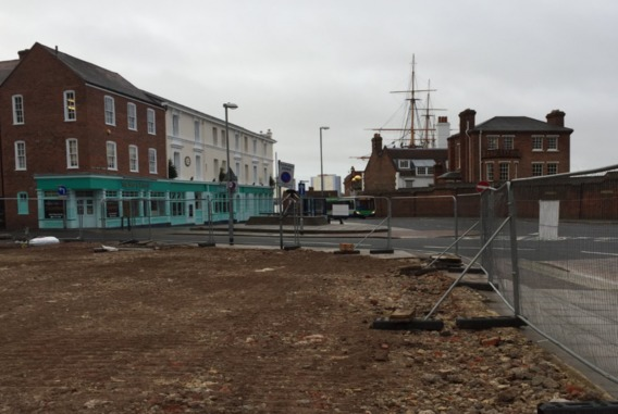 Demolition site at Queen Street, The Hard, Portsmouth