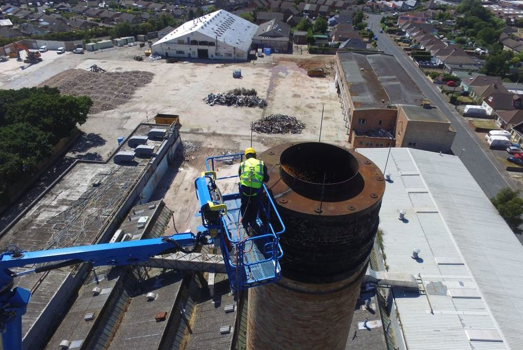 Chimney demolition arial photo