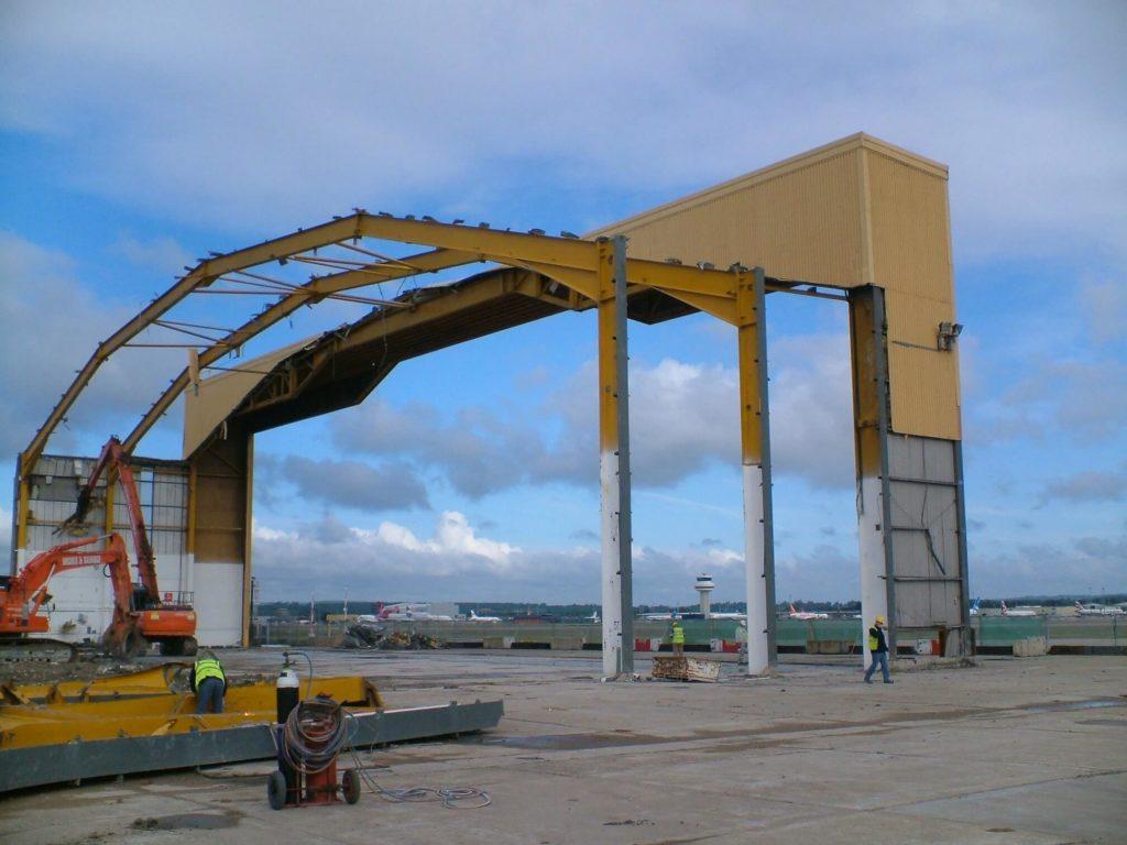 Demolition of a maintenance hangar, London Gatwick Airport