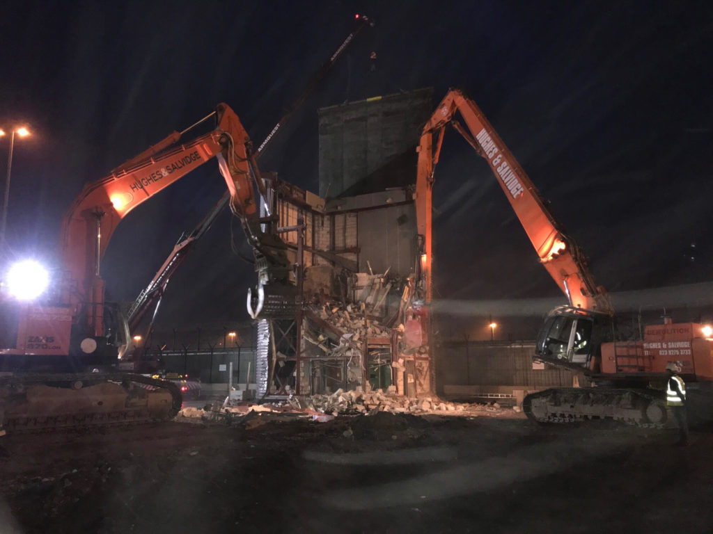 Nighttime demolition works at Manchester Airport