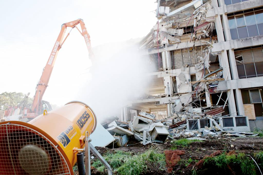 Dust Suppression System being used in demolition project